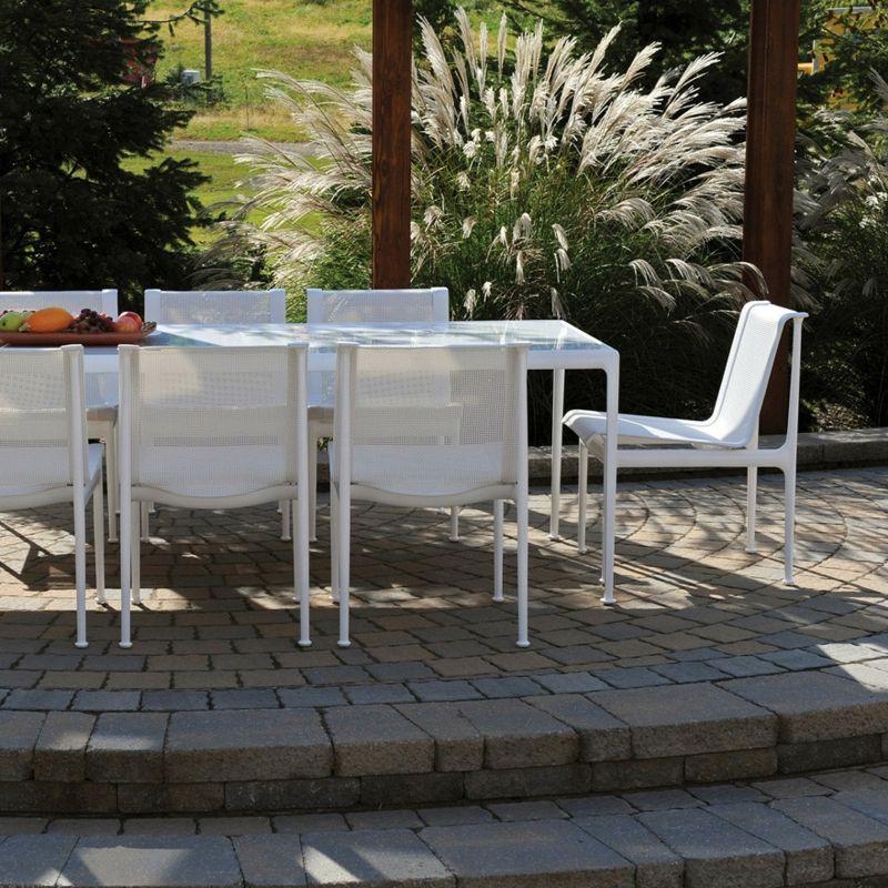 Outdoormöbel Esstisch rechteckig weiß Aluminium