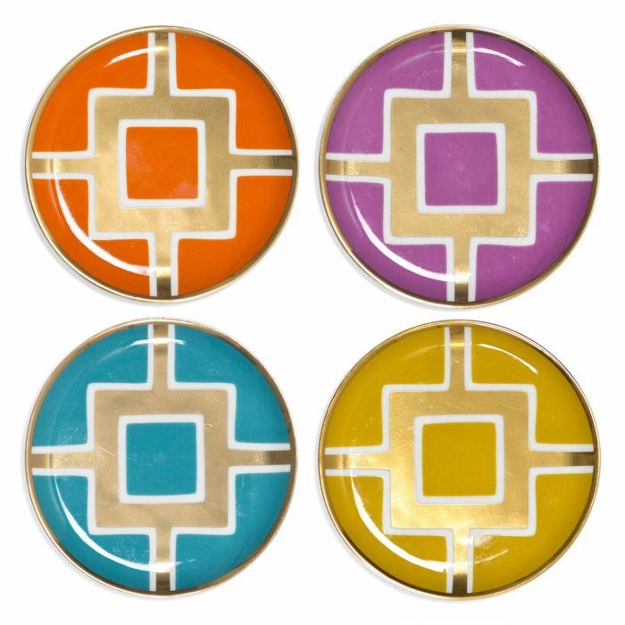 Quadratisches Design auf farbigem Hintergrund-Untersetzer Porzellan