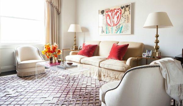 Richtige Größe des Teppichs-Wohnzimmer Einrichtung gemütlich hell