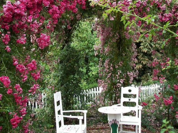 Rosenduft erfüllt den kleinen romantischen Garten