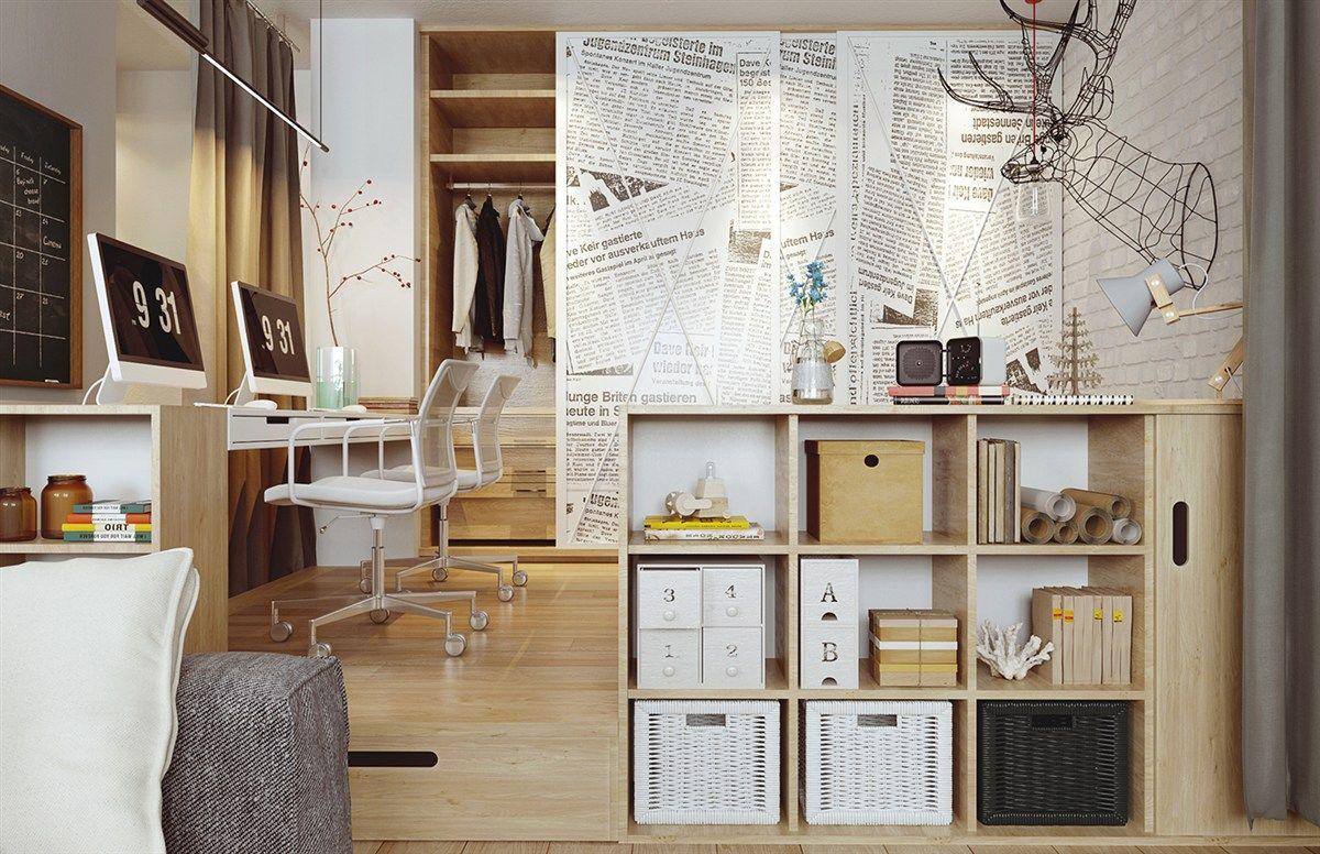 Scandi-Style Holzelemente Zeitungsseiten Wand