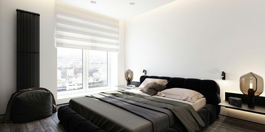 Schlafzimmer minimalistisch Schwarz Grau Holzboden