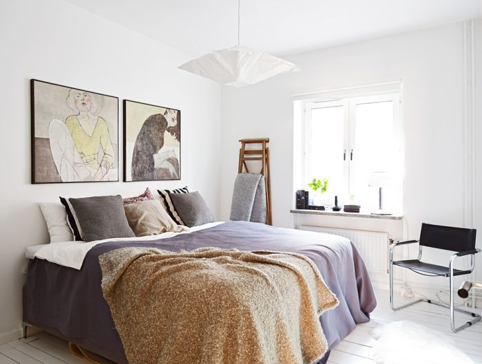 Schlafzimmer skandinavisch schwarz weiß naturfarben
