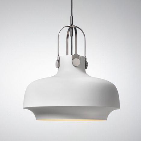 Schnittige Lampe aus lackiertem Metall in Weiß-Designer Pendelleuchten