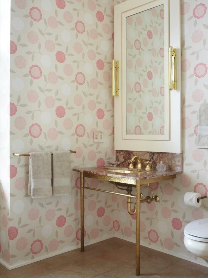 Shabby Chic Muster für die Wandtapeten im Badezimmer-ideen shabby chic