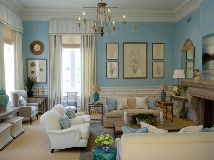 Shabby Chic mit weißen Wänden und hellblauen Wänden-ideen shabby chic