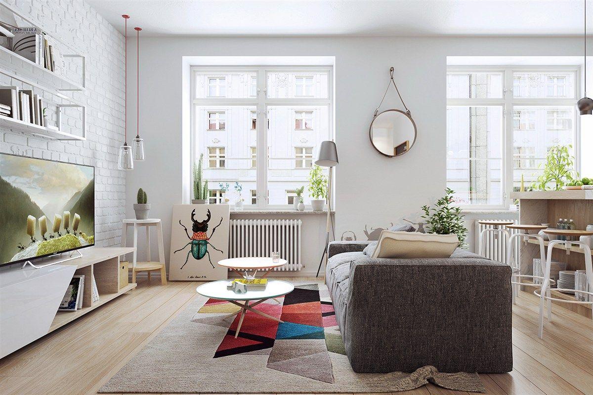 Skandinavisch Stil Wohnzimmer Polstersofa schlicht farbenfroh