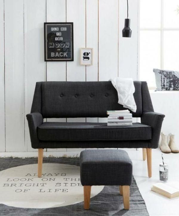 Sofa Anthazit Polster Holz Teppich bedruckt