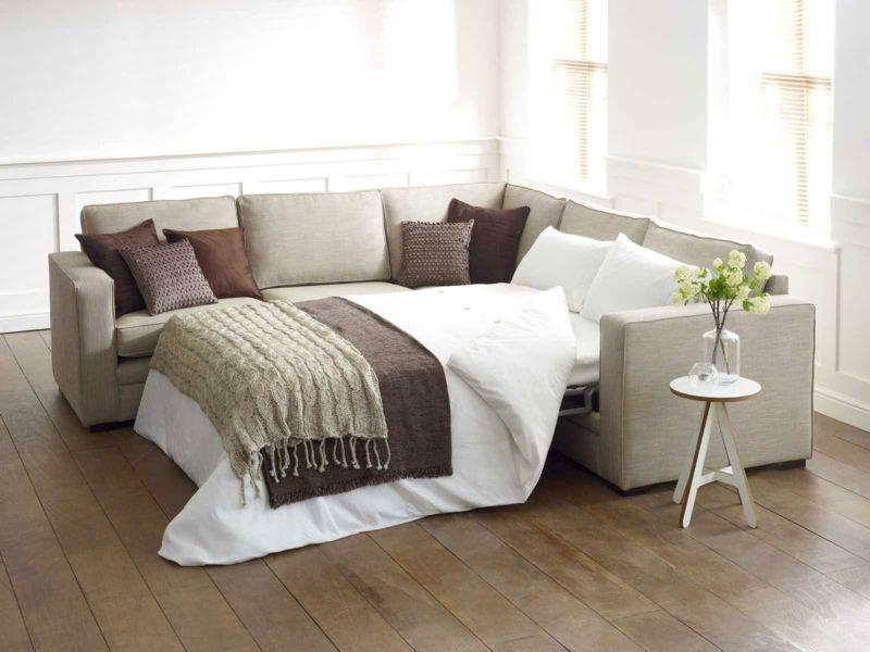 Sofabett Polster ausziehbar beige Wohnzimmer