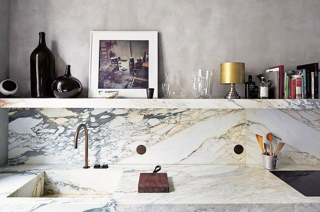 Stark geäderter Marmor-Küchenrenovierung Küchenrückwand