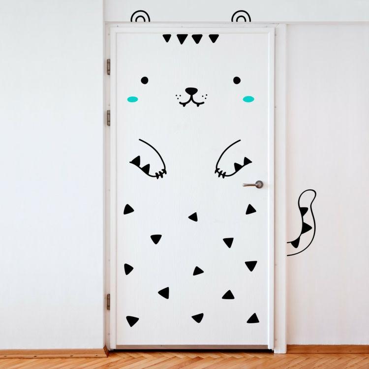 Tür Aufkleber Tierthema Katze grafisch schwarz