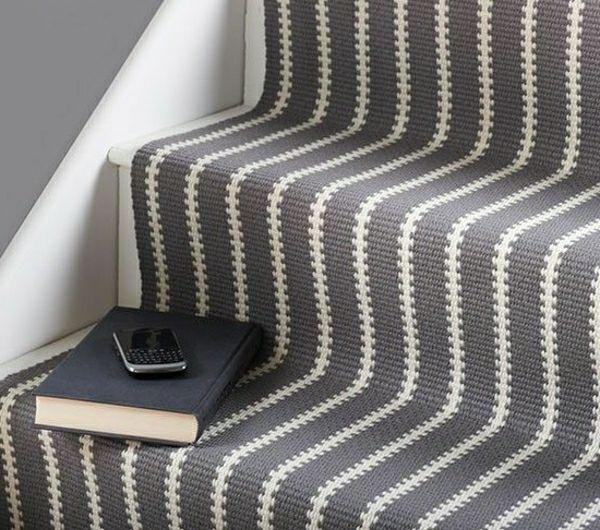 Teppich Stufen Flur Weiß Grau-Treppe Teppich