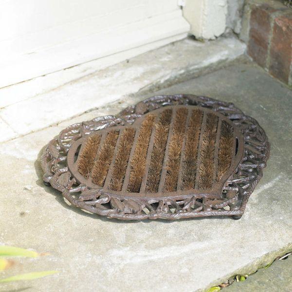 Teppich in Herzform begrüßt Sie am Eingang-rutschfeste Heimtextilien Hauseingang Gusseisen