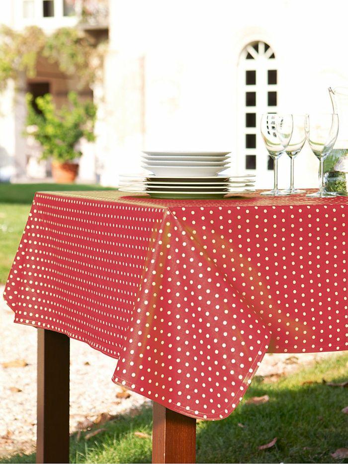 Tischdecke Retro weiß rot Pünktchen Balkon Terrasse