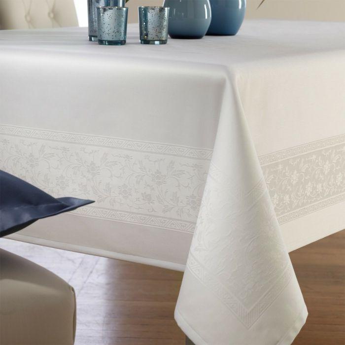 Tischdecke weiß beige Baumwolle
