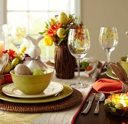 Tischdeko Festtafel Naturfarben