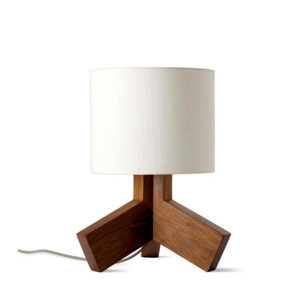 Tischlampe im Vintage-Stil-Tischleuchte Walnuss