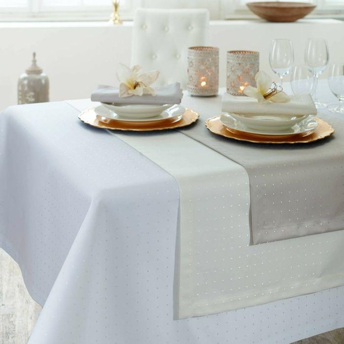 Tischwäsche Damast Pünktchenmuster glänzend