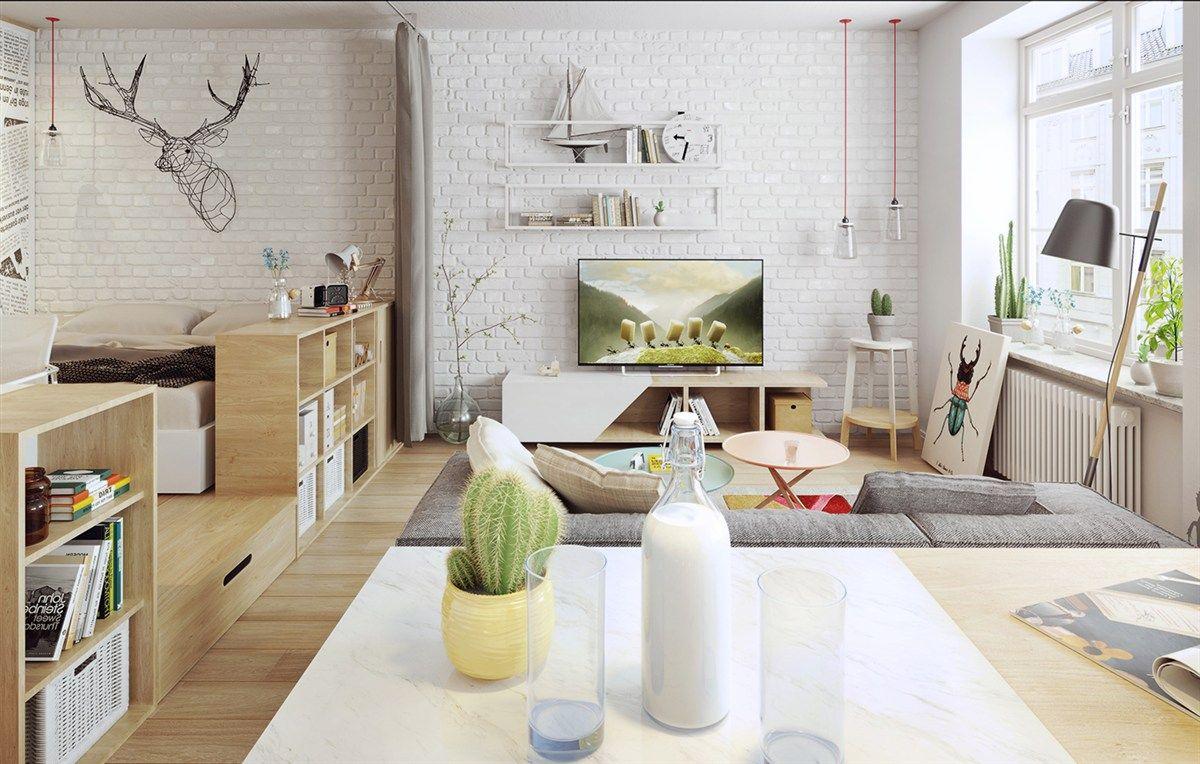 Trendig Wohnraum Ziegelwand weiß