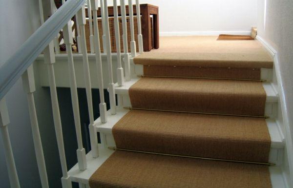 Treppen Teppich Natur Läuferstangen-Treppe Teppich