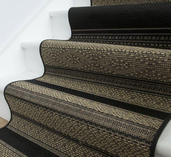 Treppenteppich schwarz beige gestreift-Treppe Teppich