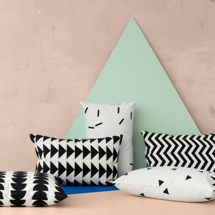 Verschönern Sie Ihren Rückzugsbereich mit handbedruckten Deko Kissen-Deko Kissen Baumwolle grafische Gestaltung schwarz-weiß