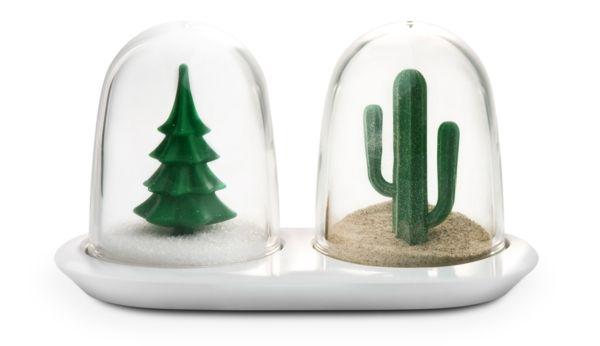 Verspieltes Design-Gewürzset aus Glas und Porzellan