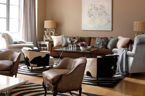 Viele Materialien in einem Raum-Brauntöne Erdtöne Wohnzimmer