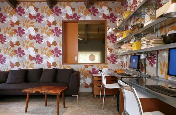 Vielfältige Materialien und Farben-Home Office Blumen Tapete bunt