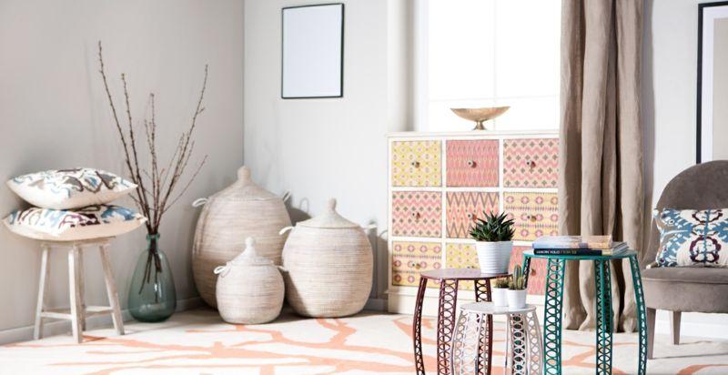 Vielfältigkeit im Interieur-Boho Shabby Chic beige rosa gelb