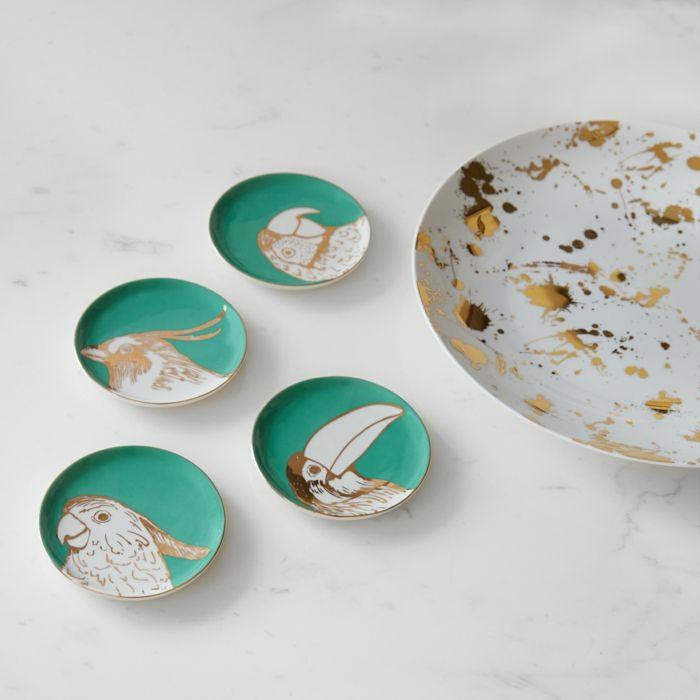 Von hand appliziertes Design-Tischuntersetzer exotisch Papagei