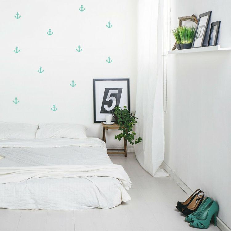 Wanddeko Wandsticker minimalistisch Anker Motiv Türkis