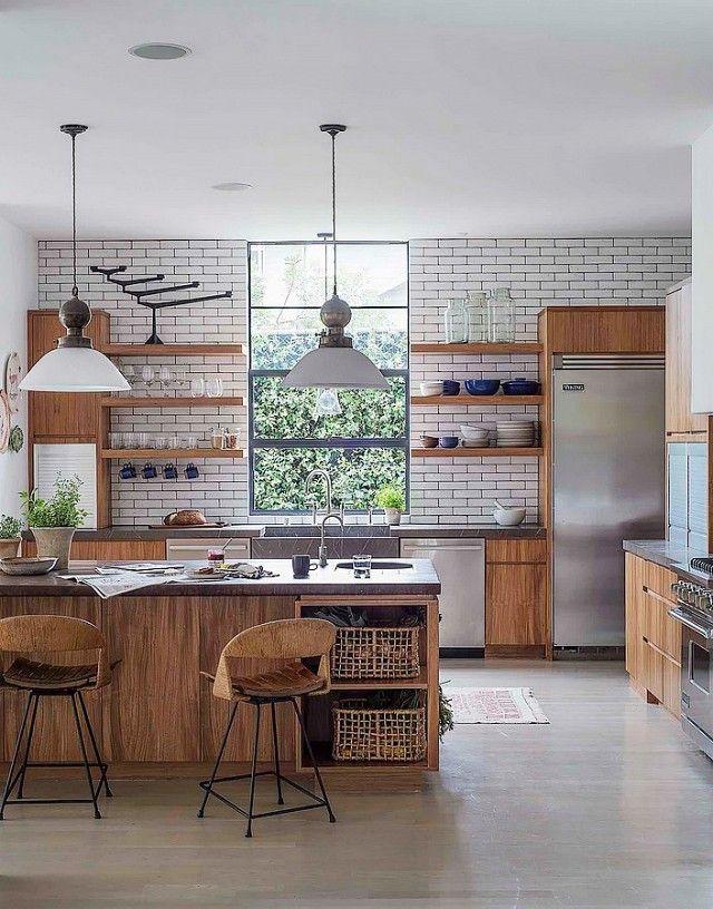 Wandgestaltung mit Metrofliesen-Küchenrenovierung Holz Wandfliesen weiß