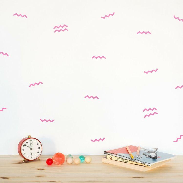 Wandsticker Wellen mini rosa Deko Ideen