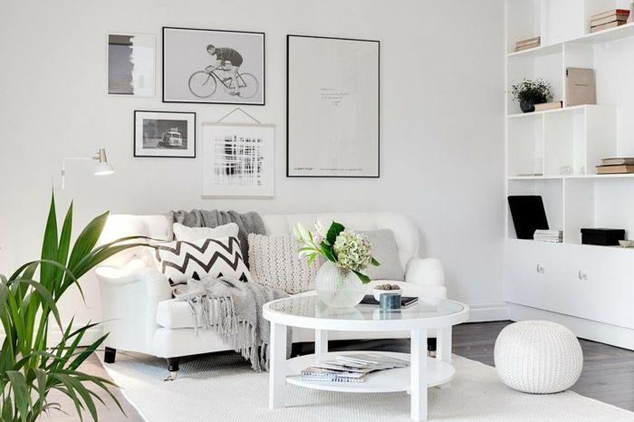 Weiße Farbe lässt das Interieur sofort heller erscheinen-Luftiges Wohnzimmer weiße Wandfarbe Deko