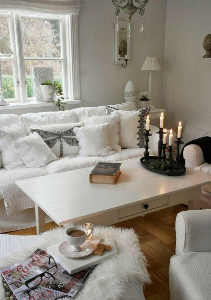 Wohnideen für das weisse, romantische Wohnzimmer-Idee zum Wohnen
