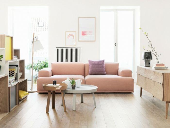 Wohnzimmer minimalistisch Rosa Couch Holzelemente