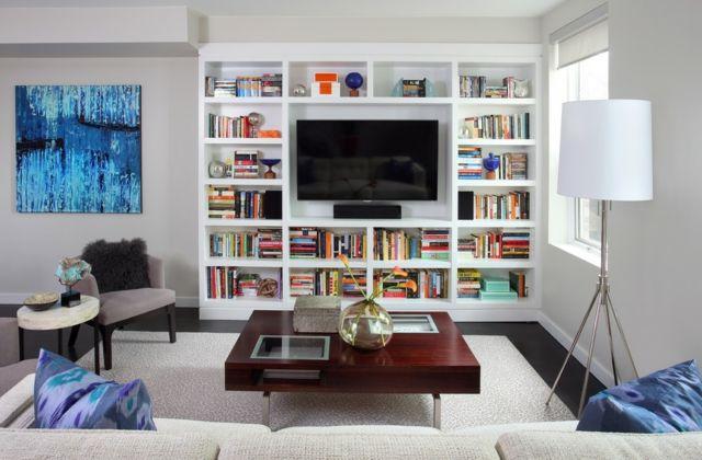 Zeitgenössiche Einrichtung des Wohnzimmers-TV-Möbel Bücherregal weiß modern