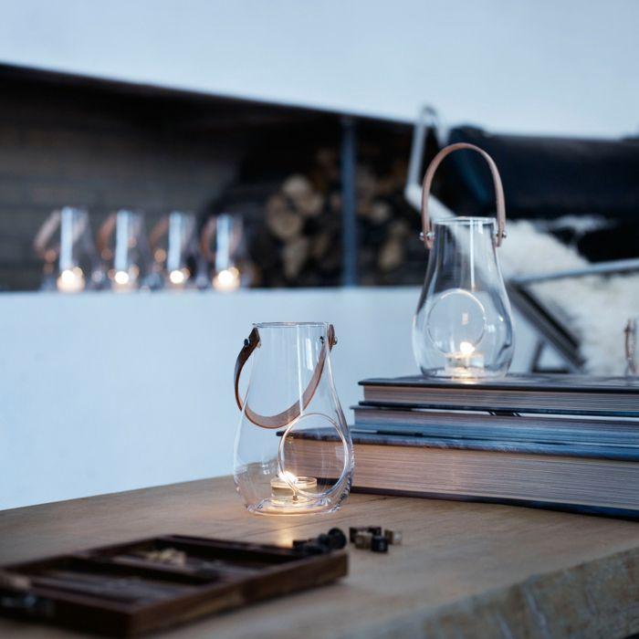 Zeitloses Design der raffinierten Licht-Laternen mit Lederhenkel-Laternenform Kerzenhalter aus Glas Lichtquelle skandinavisches Design