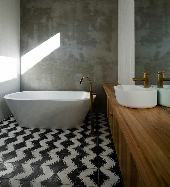 Zement Fliesen geometrisch Badezimmer
