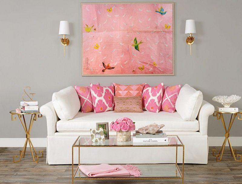 Zimmer in Rosa-einrichten feminin elegant glastisch