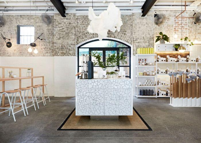 Zubereitungsinsel mit tollem Design und strategische Platzierung- Bio-Tee Bar Design eklektisches Interieur