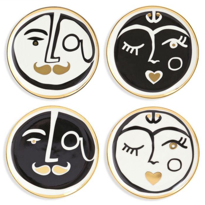 Zwinkernde Gesichter-Tischuntersetzer schwarz weiß gold