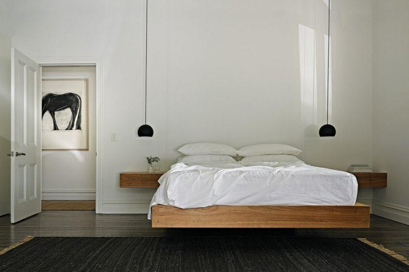 hängendes Bett Holz Schlafzimmer modern Einrichtung