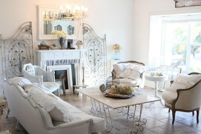 hell und romantisch im Wohnzimmer mit dem Shabby Chic Einrichtungsstil -ideen shabby chic