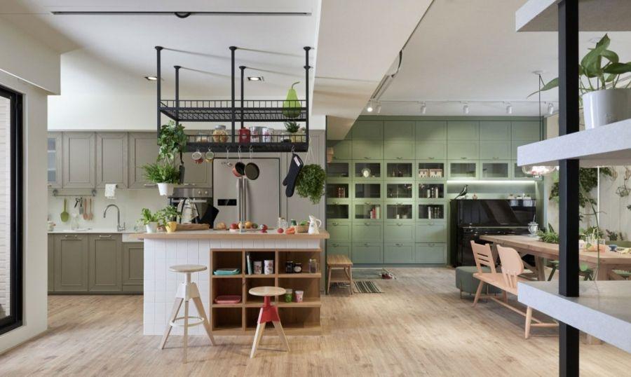 kombinierte Wohn und Esszimmer Kombi-Raum Hängeregal Parkettboden