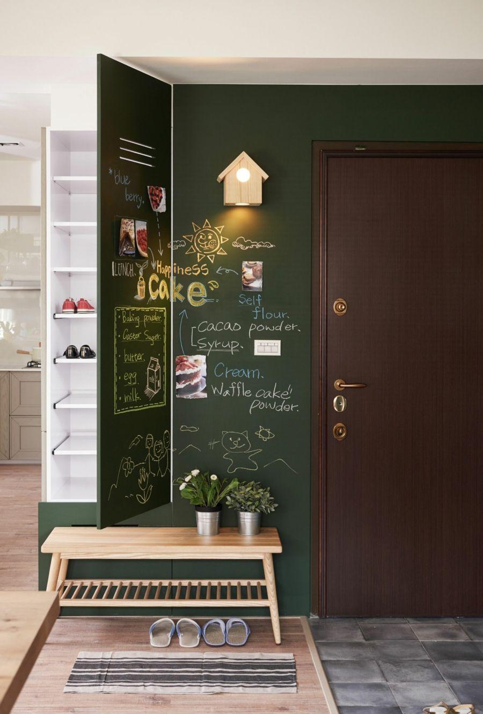 minimalistischer Stil Tafelwand Grün Flur gestalten