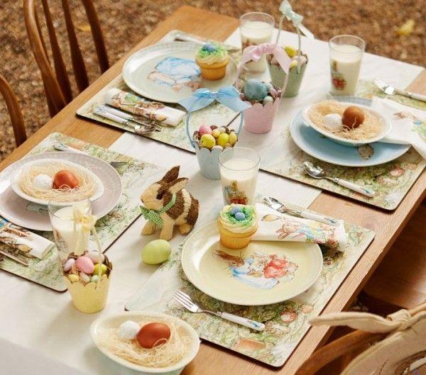 moderne Tischdeko Eierkorb klassisches Geschirr Ostermotive