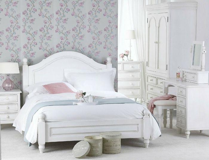 Romantisches Schlafzimmer Mit Tapeten In Shabby Chic Ideen Shabby Chic
