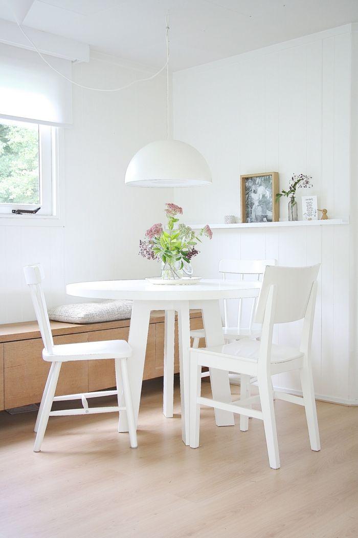 skandinavischer Stil Esstisch rund weiß